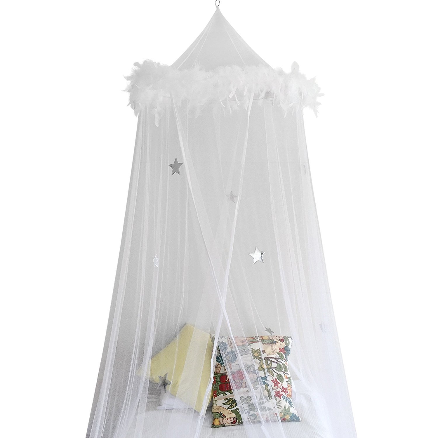 Bed Canopy Mosquito Net Curtains With Feathers And Stars