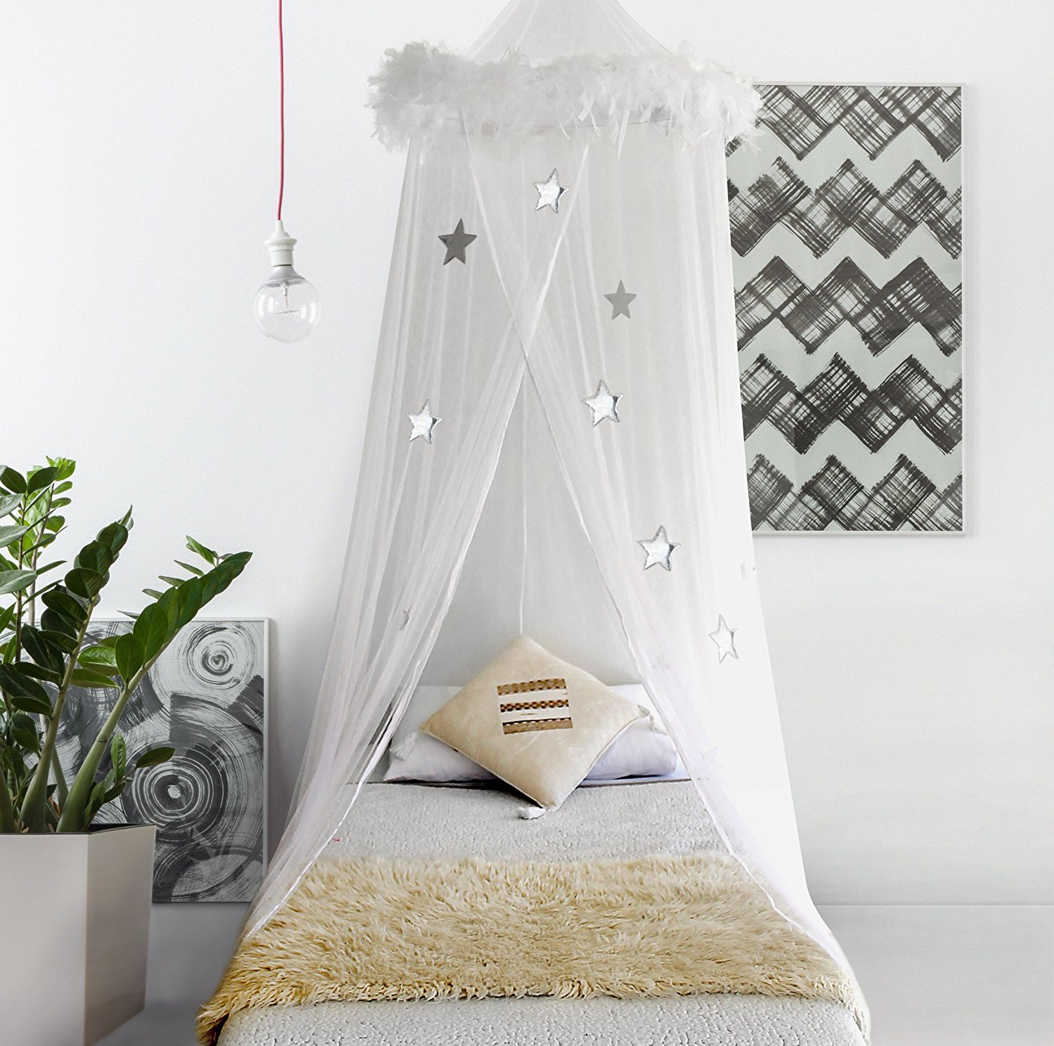 Canopy Mosquito Net Curtains with feathers and stars & Bed Canopy Mosquito Net Curtains with Feathers and Stars - Moski Net